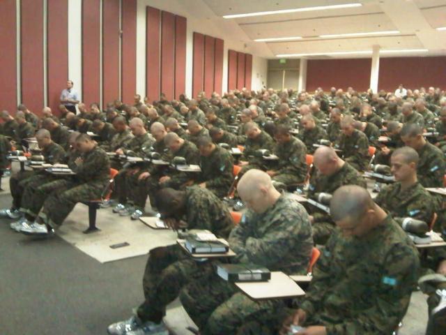 Tim Lickness teaching Sunday School at Marine Corp Recruiting Center