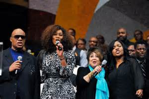 Stevie Wonder, Yolanda Adams, Tata Vega, and CeCe Winans at Andrae's memorial service.