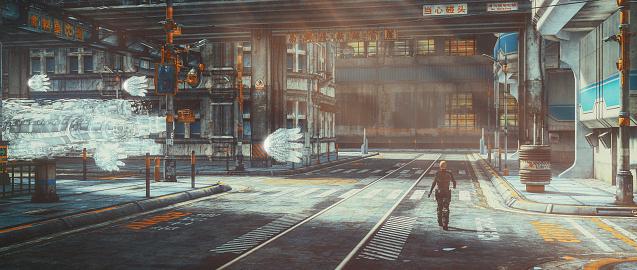 Man walking in abandoned futuristic city.